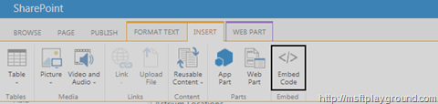 Embed Code Toolbar