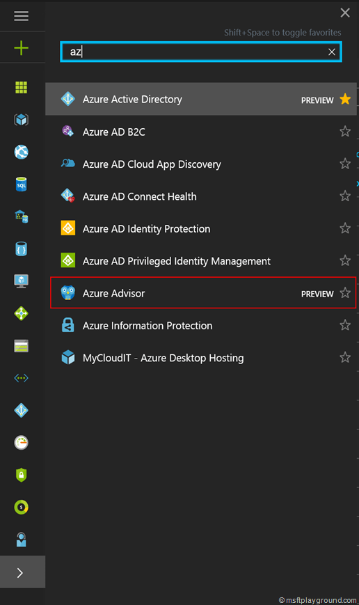 Search Azure Advisor