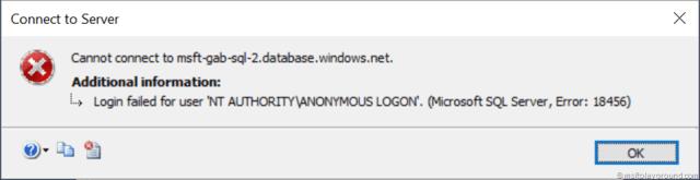 SQL Authentication Error
