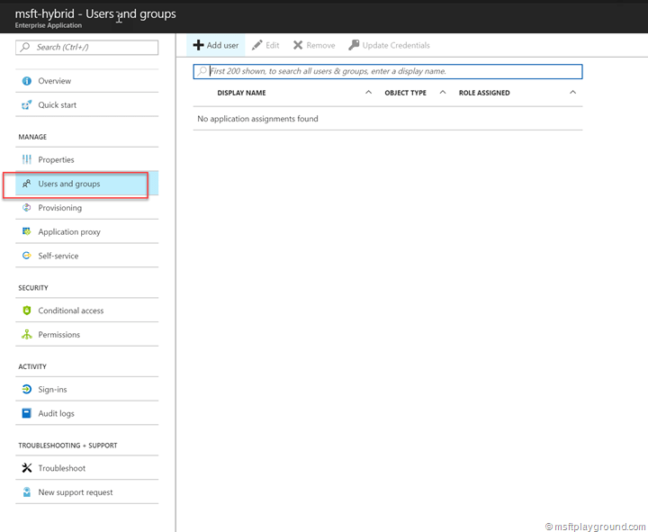 Users for Azure Active Directory Application
