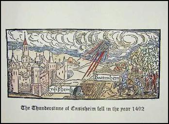 Ensisheim woodcut coloured using meteorite pigments