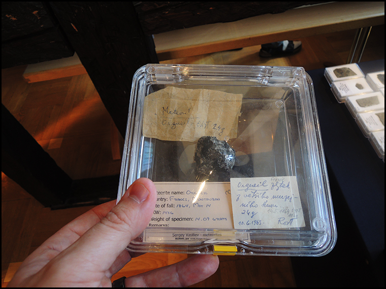 Sergey's 14 gram crusted fragment of Orgueil with old labels.