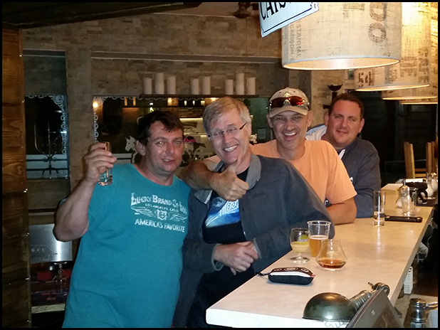Marc, Graham, Dave and Luther at the bar.
