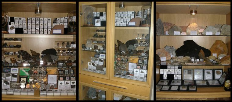 Some of my own display cabinets housing my meteorites.