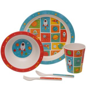 Space cadet plate cutlery 1