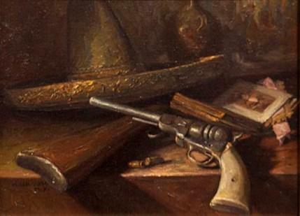 Pistol original oil by Noe Cervantes $1200.00