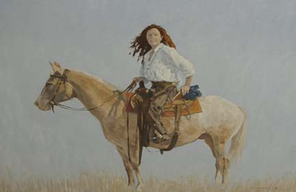 The Rancher's Daughter Oil 30 X 40 $2500.00 by Larry Cremeens