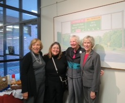 "At the 2015 Millburn Landmarks Show ""Safe Harbor"": Former Mayors Sandy Haimoff, Laraine Barach (Art Advisory Chair), Maureen Ogden, and Elaine Becker."
