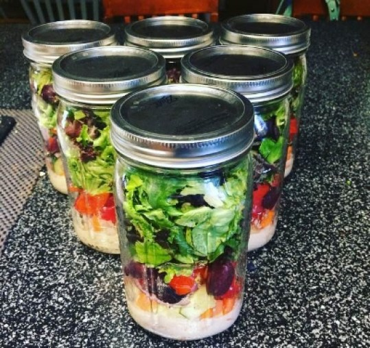 Mason Jar Salad - How to Meal Prep with Kelli of Nutrition not Restriction. One awesome way to make your healthy diet last.