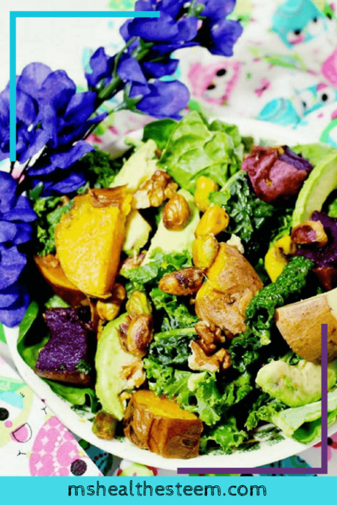 Hearty Sweet Potato Salad with Maple Vinaigrette | This super simple salad and dressing combo is freaking delicious. Dive into this healthy recipe and with simple maple salad dressing. Great as an appetizer, for lunch or dinner. #veganrecipes #glutenfreerecipes #healthyrecipes