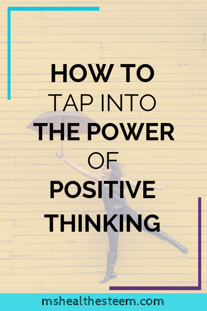 How To Tap Into The Power of Positive Thinking Title Card, in the background a woman jumps in the air with an umbrella, caught in a moment that makes it appear as if she's flying.