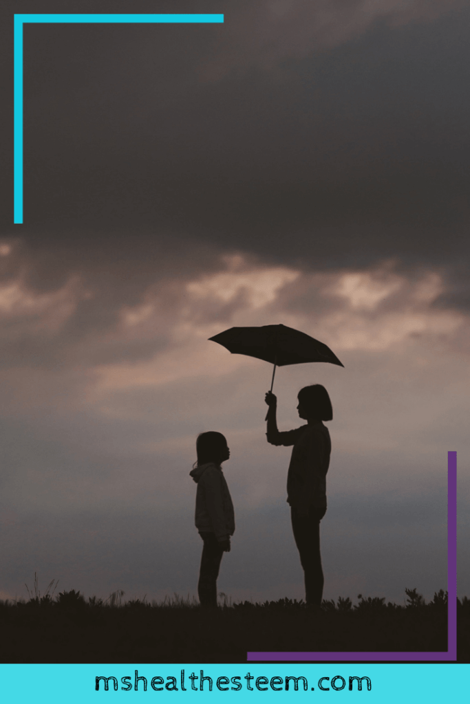 Two young girls stand under a rain cloud. One extends an umbrella to protect the other.
