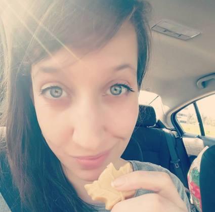 Sara Flanagan mshealthesteem.com enjoying a piece of maple cream