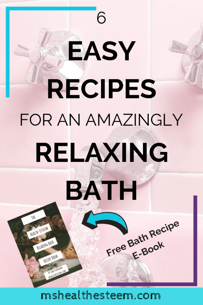 6 Easy Recipes for an Amazingly Relaxing Bath title card. In the background a picture of water pouring from the faucet of a pink tub can be seen.