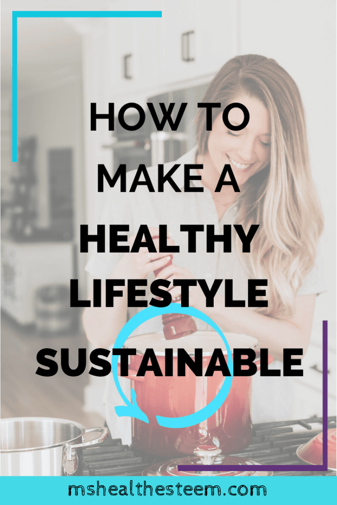 How to Make A Healthy Lifestyle Sustainable Title Card - In the background a women adds salkt to a pot as she cooks a meal. Cooking is an important part of maintaining a healthy lifestyle.