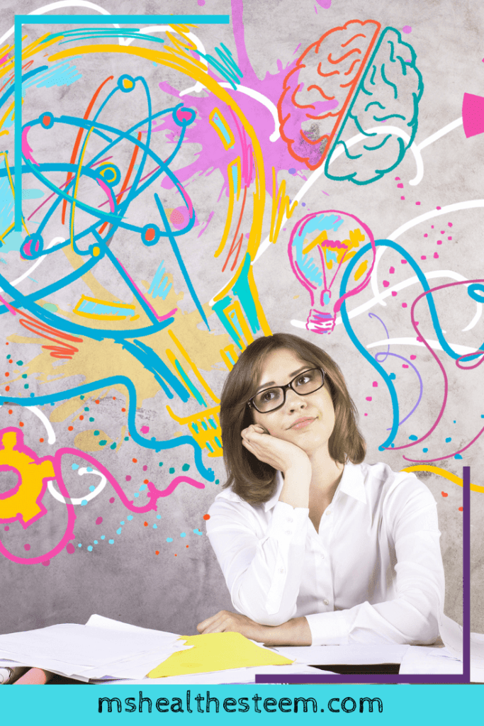 A woman sits at her desk with her cheek resting on her hand. She looks like she's day dreaming. Behind her is grafitti of a brain, light bulbs and other representations of ideas. The importance of resting extends to your creativity.