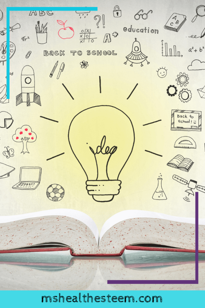 A book lays open at the bottom of the image. On top is an innovative light bulb, with doodles above and all around it.
