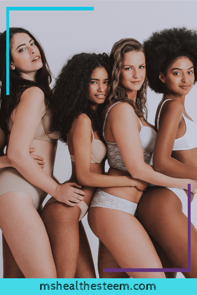 A group of women wearing lingerie. They are different different shapes and sizes. a reminder that everyone body is beautiful.