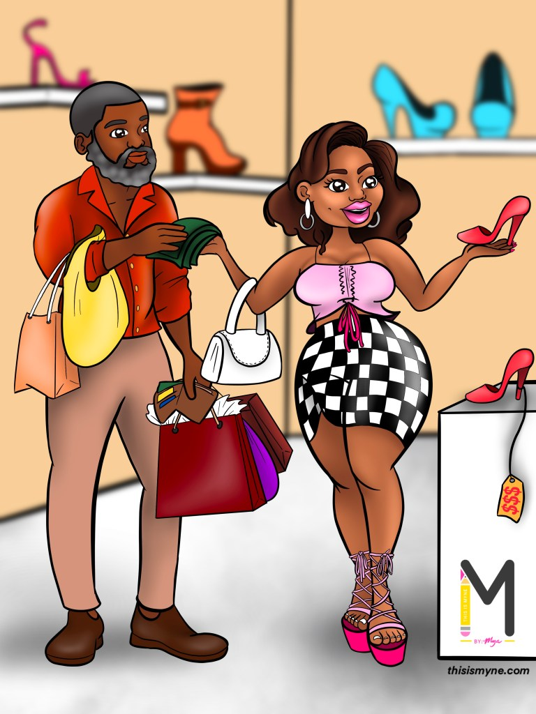 How to get a guy to take you shopping fahsion illustration.