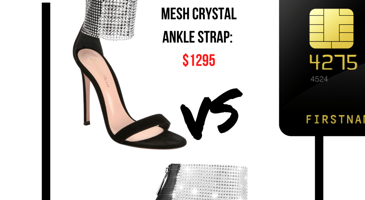 Real vs Steal: Gianvito Rossi mesh ankle strap and Cape Robbin's Glories night sky heel.