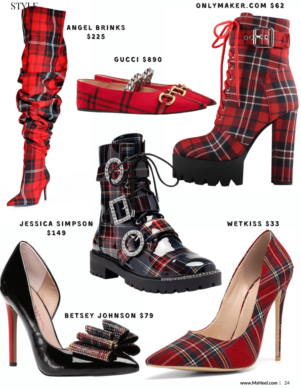 Do Be 'Tartan' For The Party! How To Wear Christmas Plaid to any party or to work this holiday season. Tartan plaid shoes by Gucci, Angel Brinks, Jessica Simpson, Wetkiss, Only Maker and Betsey Johson.