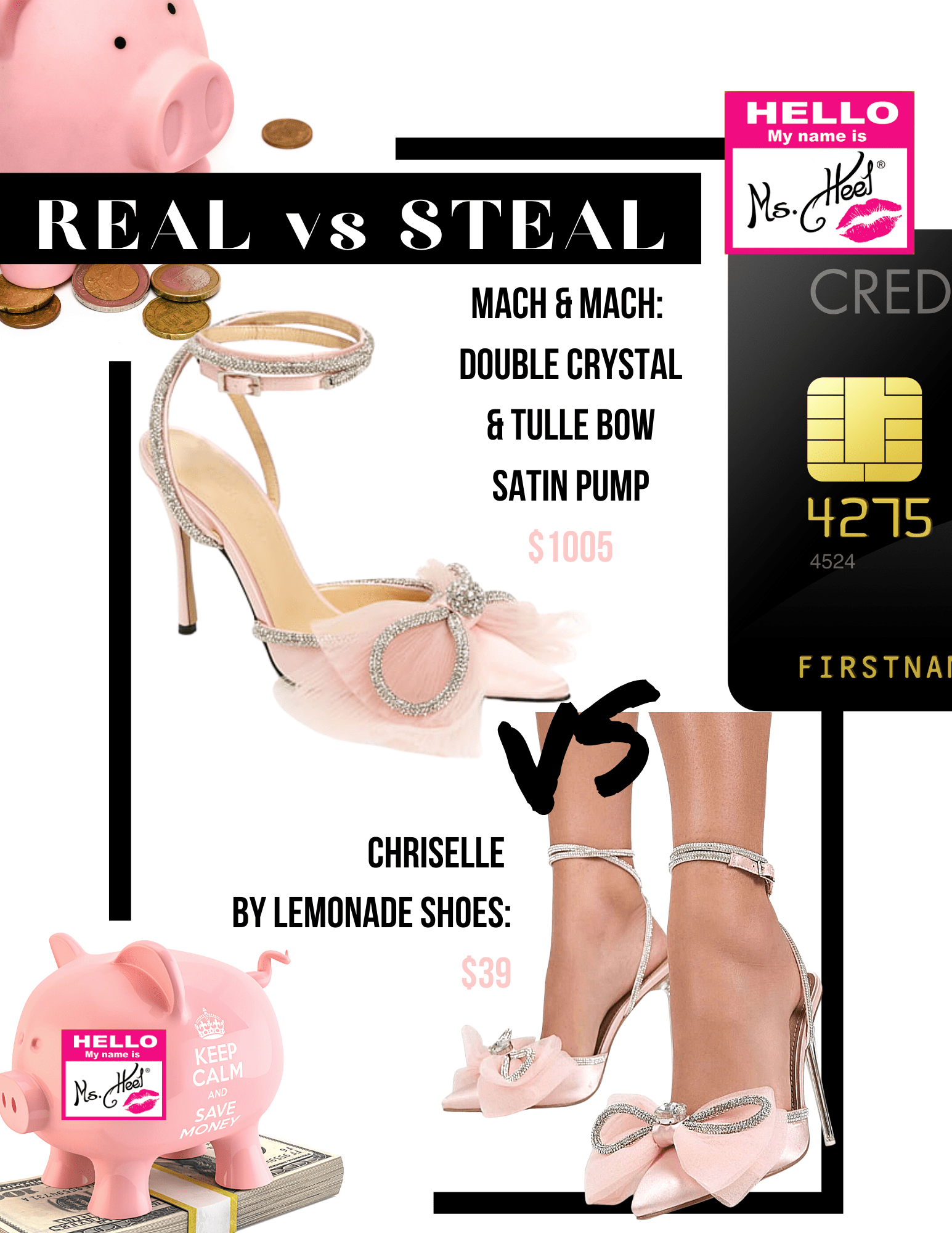 Real vs Steal: Featuring Mach & Mach pink double crystal bow up against the value buy of Chriselle by Lemonade shoes.