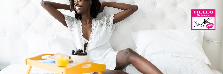 Black woman breakfast in bed
