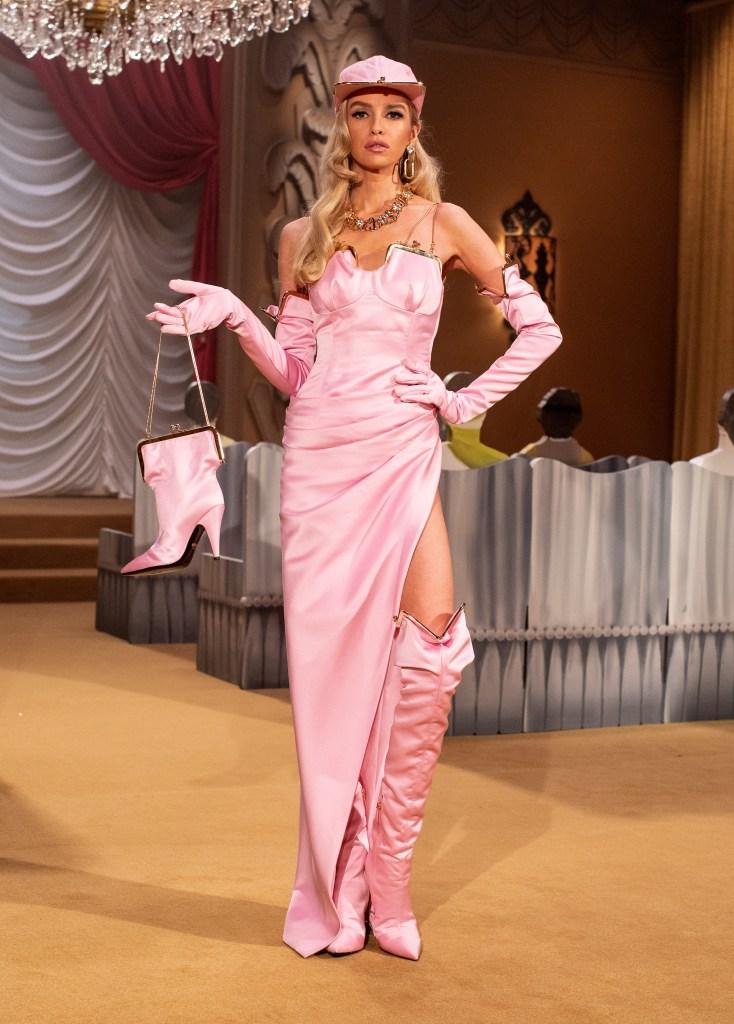 Pink satin handbag dress and handbag from Moschino f/w 21