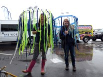Vicky and I testing the jellyfish umbrellas in the rain