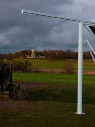 The Folly, framed by one of the new art installations