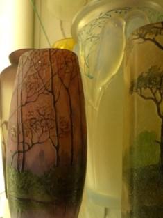 Trees on glass vases