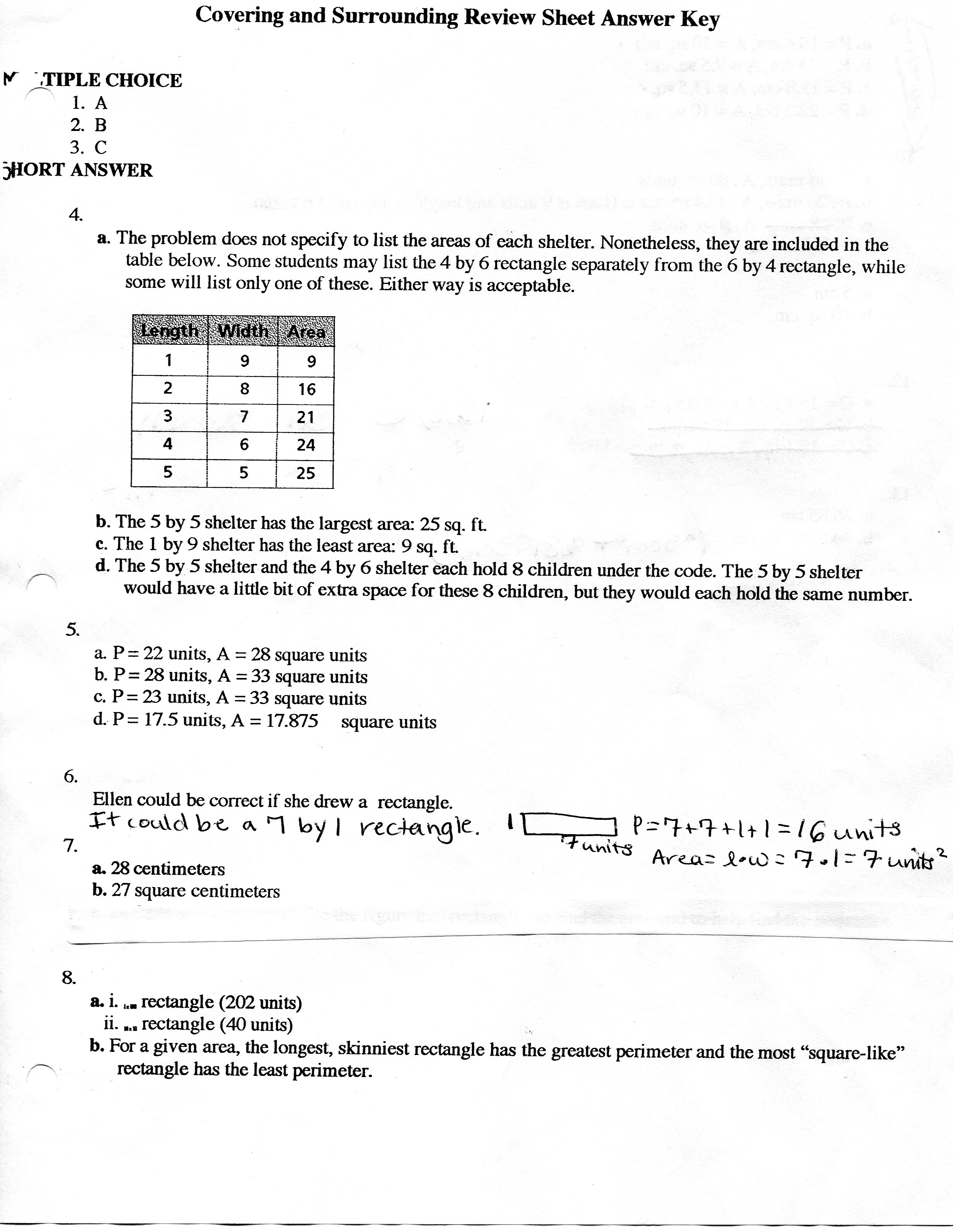 Geometry Homework Answer Key