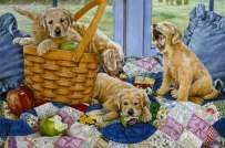 Puppies-and-a-Basket