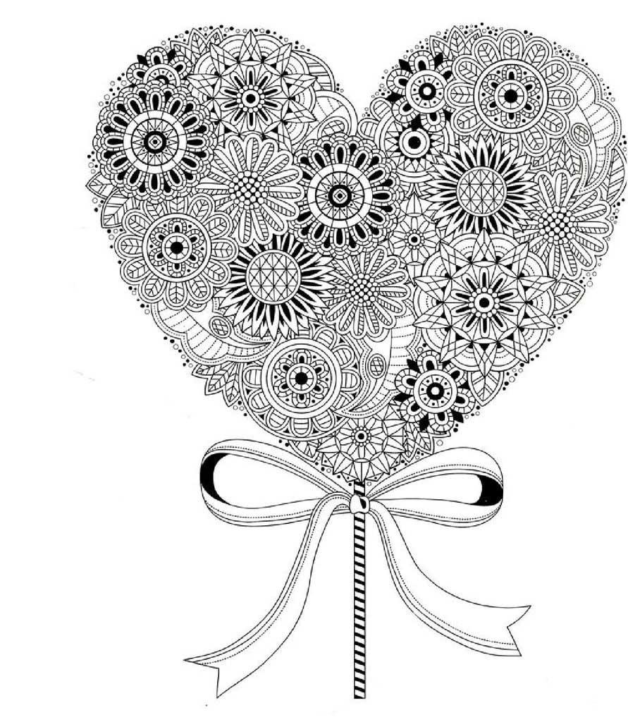 раскраски антистресс с изображением сердца мама и малыш