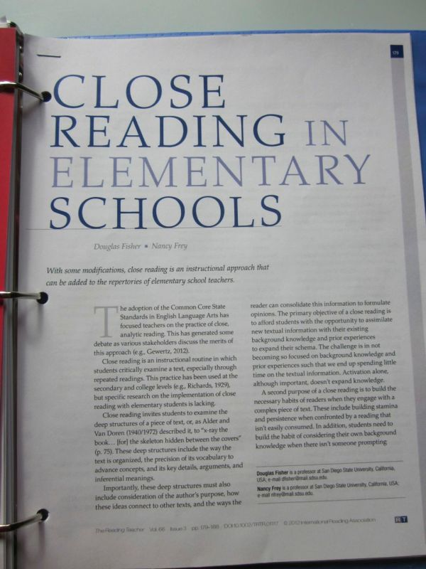 Close Reading Article