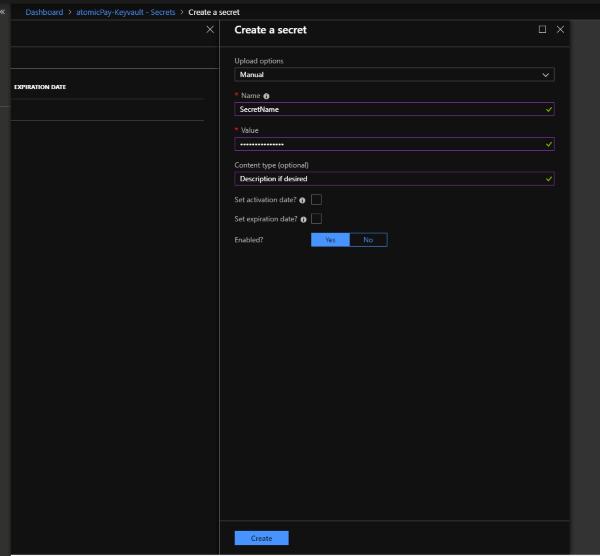 Azure KeyVault add secret