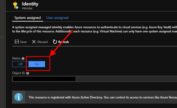 Azure function enable System assigned identity