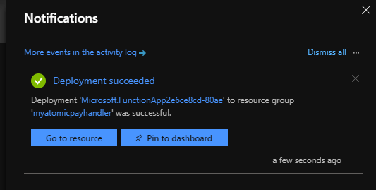 Azure notification deployment succeeded