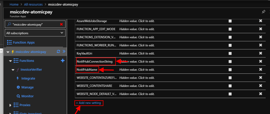 Azure Function add Hub name and ConnectionString to Application settings