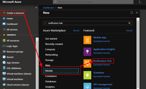 Azure: create a new Notification Hub
