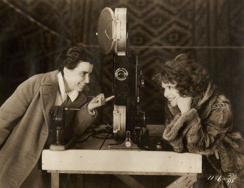 "Dorothy Arzner and Clara Bow on the set of ""The Wild Party""."
