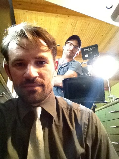 "Actor Ryan Schwartzman & 1st AC Danny Brown on the set of ""Gordon Family Tree"""
