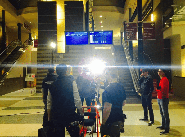 Filming in an airport overnight, #ParkersAnchor, Producer Mark Landon Smith's IG @MarkLandonSmith Instagram