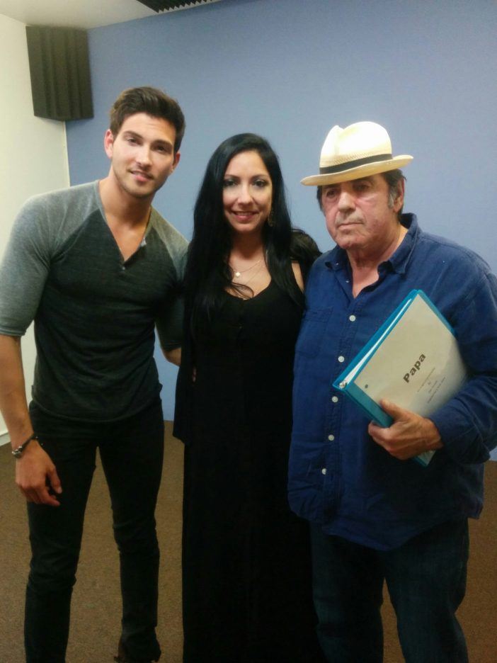 "Renee Garcia with Robert Scott Wilson (""Days of Our Lives"") and David Proval (""The Sopranos"") at her casting office for the casting of the film ""Papa"""