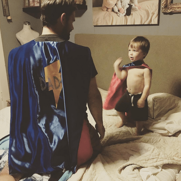 Bed also serves as a fortress of solitude, getting some good superhero advice from Daddy - @JennicaRenee Instagram