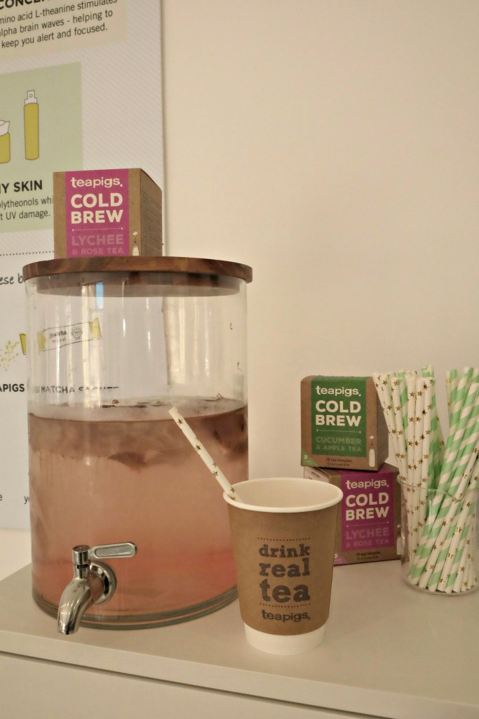 A water jug with cold brew tea in it ready to drink.  Teapigs Tea School Day.