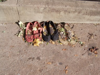 These shoes have been on the sidewalk for six days and counting.