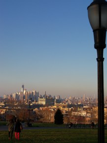 View from Sunset Park across to Manhattan and downtown Brooklyn.