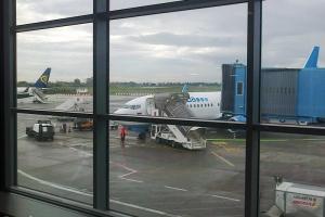 Вид на самолёт из окна аэропорта Пизы