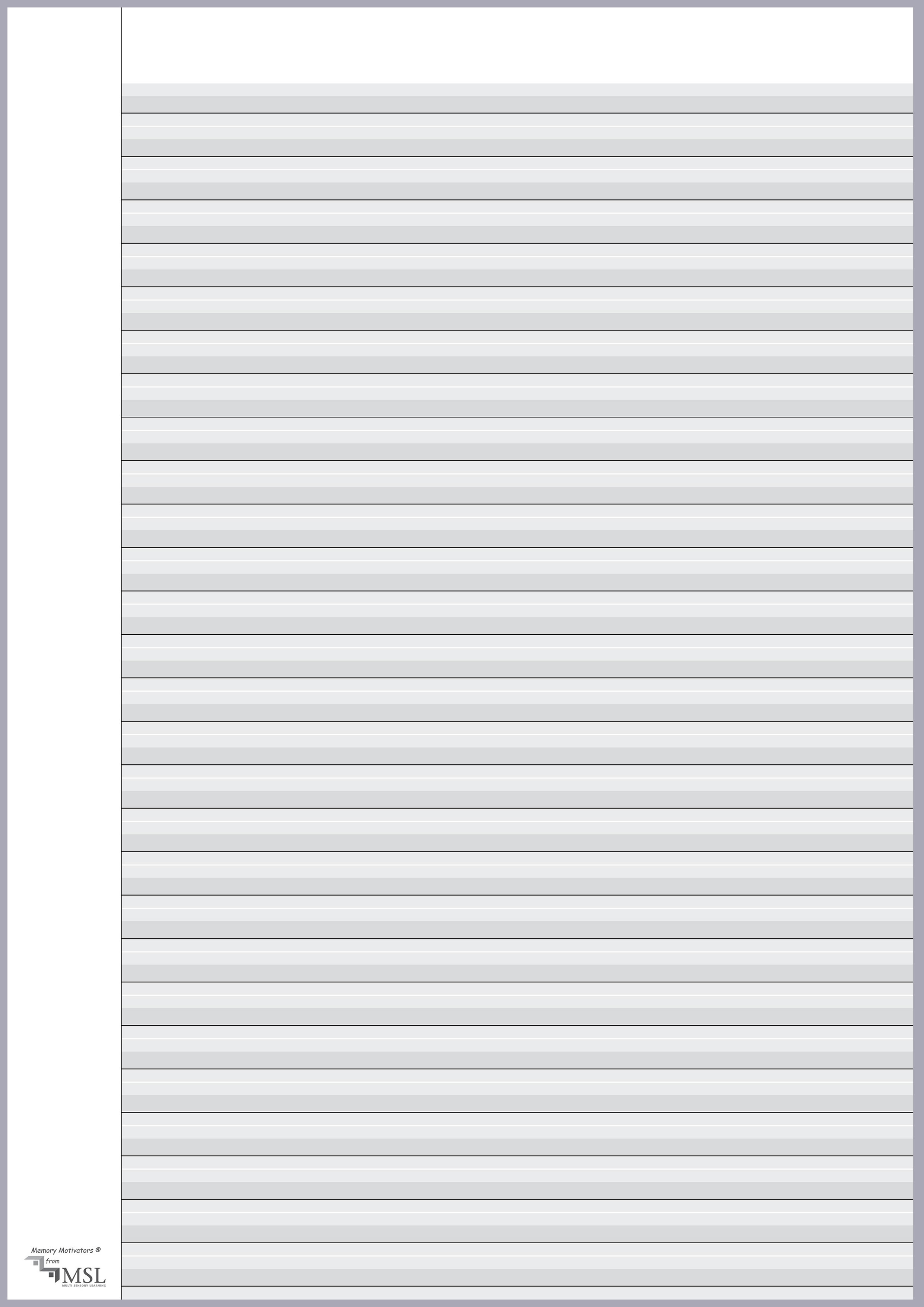 Cursive Handwriting Guidelines A4 Sheet Master